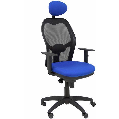 Silla Jorquera malla negra asiento bali azul con cabecero fijo