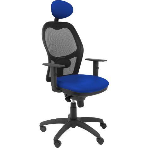 Silla Jorquera malla negra asiento similpiel azul con cabecero fijo