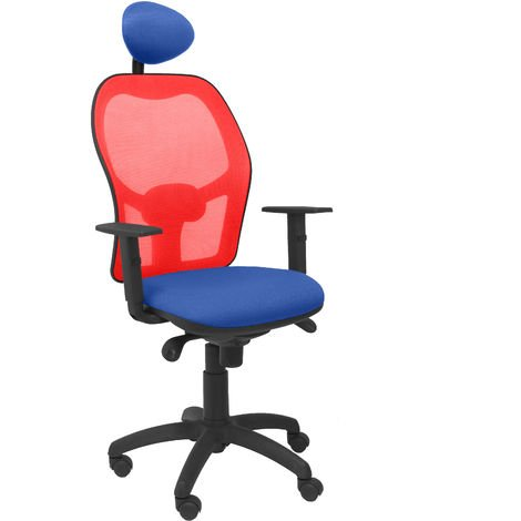 Silla Jorquera malla roja asiento bali azul con cabecero fijo