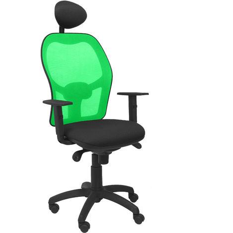 Silla Jorquera malla verde asiento bali negro con cabecero fijo