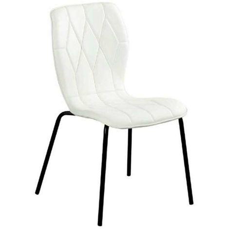 Silla Nina tapizado polipiel blanca patas negras Tapizado Blanco