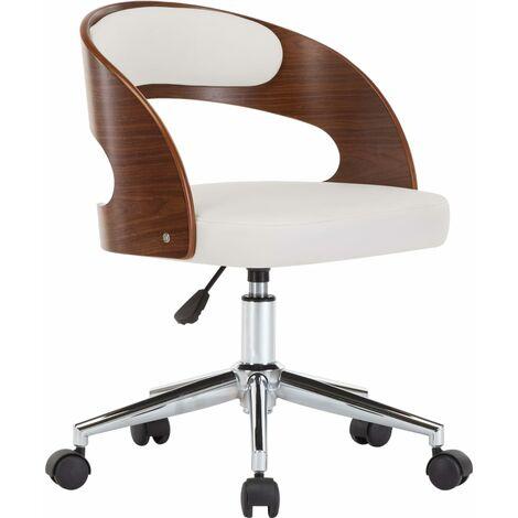 Silla oficina giratoria madera curvada cuero sintético blanco