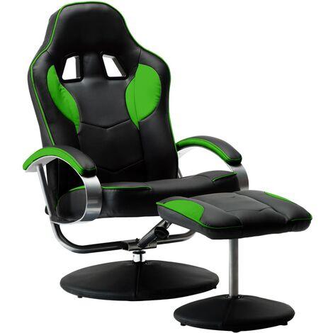 Silla oficina reclinable con reposapiés cuero sintético verde