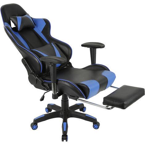 Silla para juegos Altura ajustable 124-132cm Respaldo reclinable Cojín para reposacabezas Silla para juegos de oficina Negro / negro