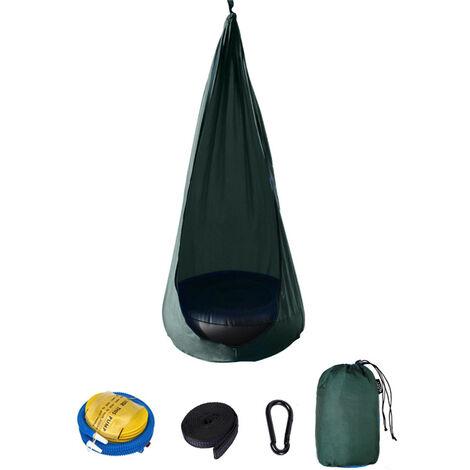 Silla para ninos, portatil, paracaidas, columpio de tela, innovadora silla de patio interior con cojin de aire, hamaca, silla colgante, columpios, verde oscuro