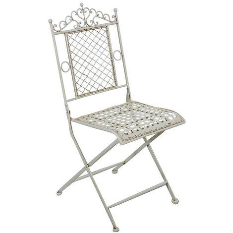Silla plegable de comedor de jardín al aire libre en hierro forjado acabado blanco antiguo 41x49x96 cm