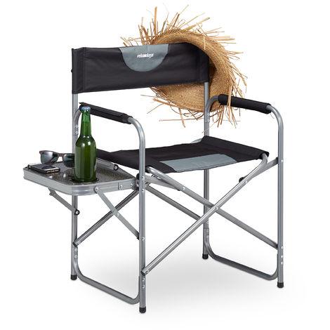 Silla Plegable de Director con Posavasos para Camping, Jardín y Pesca, Acero-Plástico, Negro, 80 x 58 x 47 cm