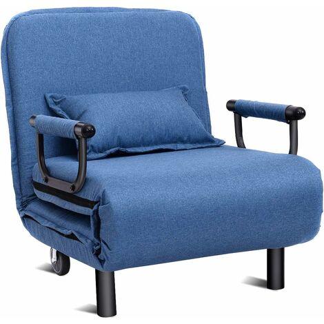 Silla Plegable Sofá Cama Individual Sillón con Respaldo Ajustable Tumbona con Colchón para Oficina Terraza Jardín (Azul)