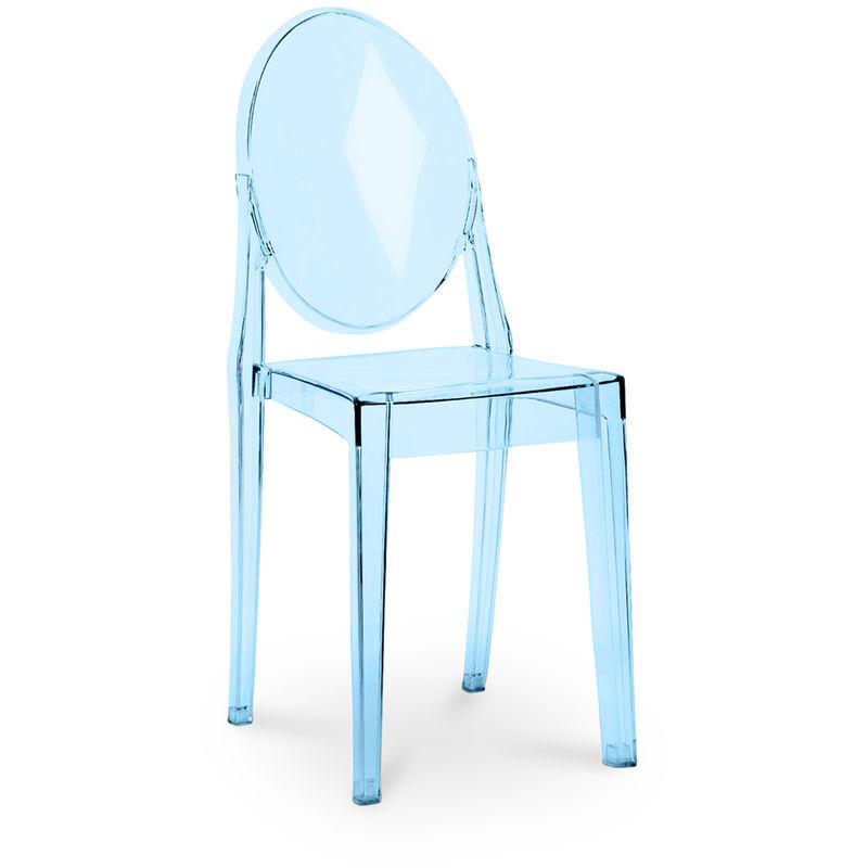 Premium Silla De Comedor Victoria Azul transparente
