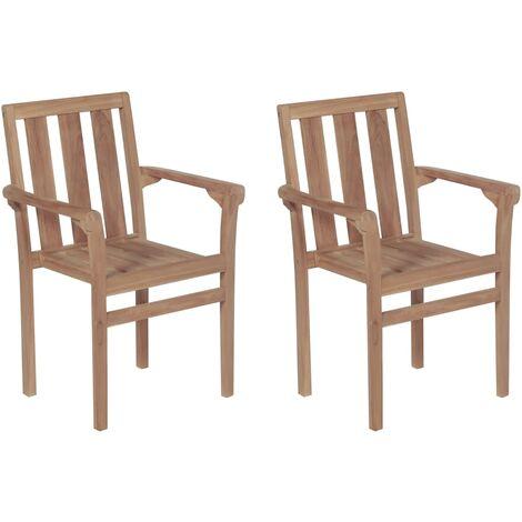 Sillas apilables de jard n 2 unidades madera maciza de teca - Sillas madera jardin ...