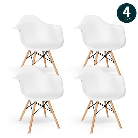 Sillas Comedor Blanca con Brazos, Pack 4 Sillas Salon Estilo Nordico con Apoyabrazos, Butaca Moderna