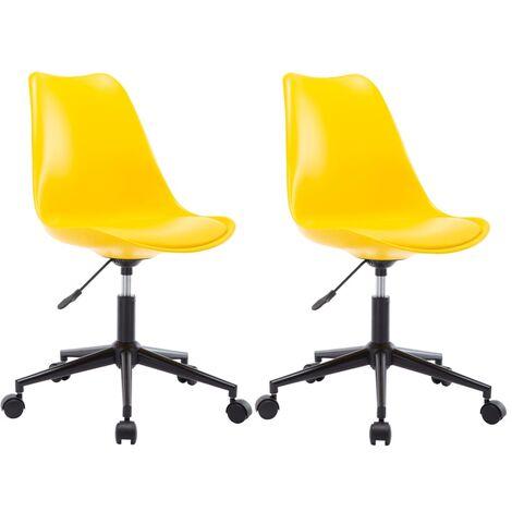 Sillas comedor giratorias 2 unidades cuero sintético amarillo