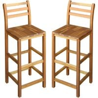Sillas de bar 2 unidades madera maciza de acacia 42x36x110 cm
