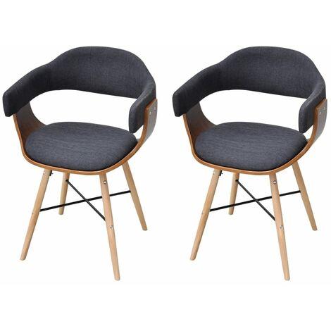 Sillas de comedor 2 unidades madera curvada y tela gris oscuro