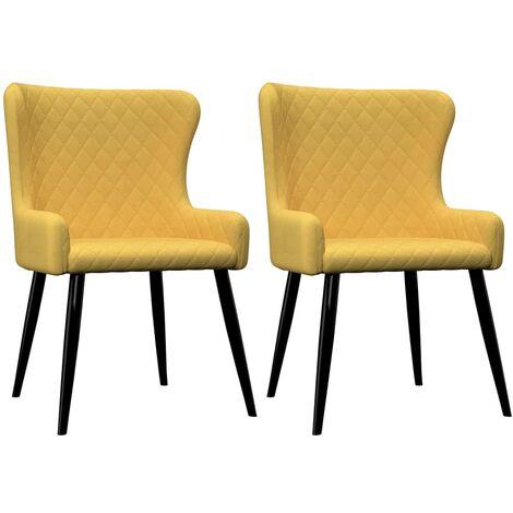 Furnish 1 Juego de 4 sillas de Comedor de Terciopelo con Patas de Metal Amarillo