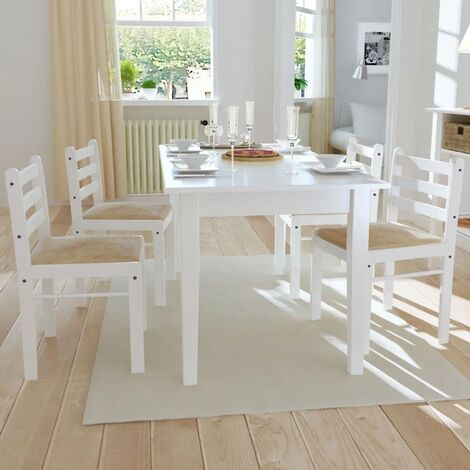 Sillas de comedor 4 uds madera maciza caucho terciopelo blanco