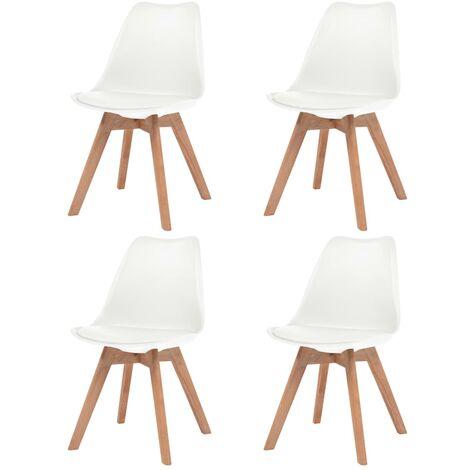 Sillas de comedor 4 unidades cuero sintético blanco