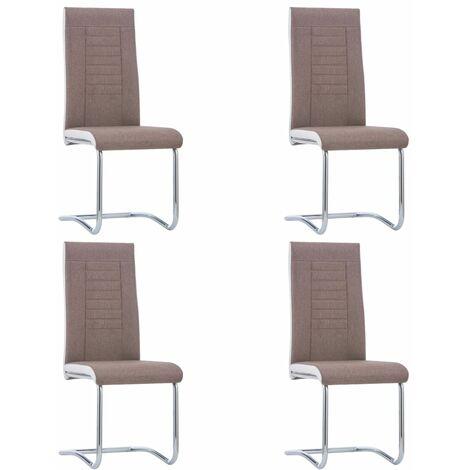 Sillas de comedor 4 unidades de tela marrón