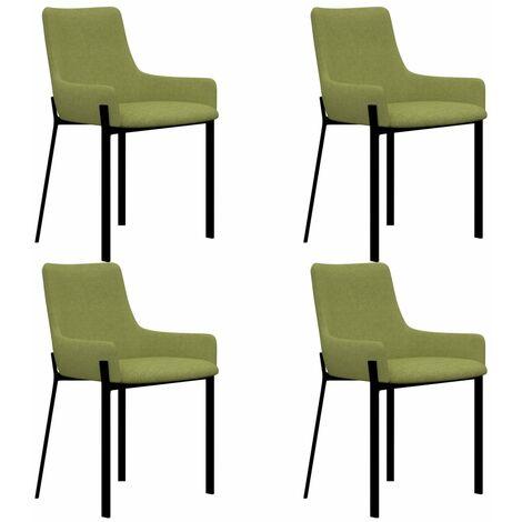 Sillas de comedor 4 unidades de tela verde