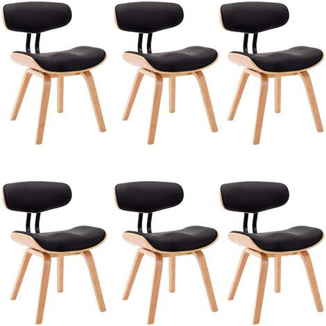Sillas de comedor 6 uds madera curvada cuero sintético negro