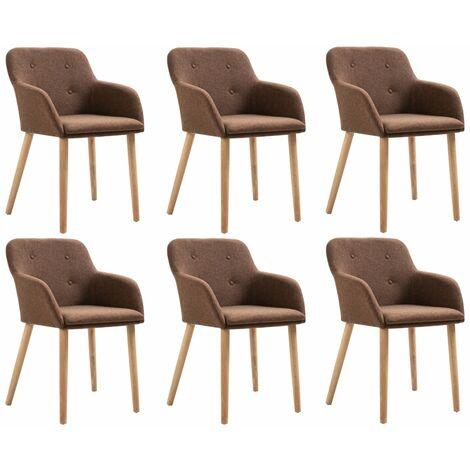Sillas de comedor 6 uds madera maciza de roble y tela marrón