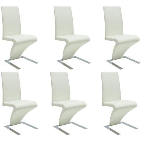 Sillas de comedor 6 unidades cuero sintético blanco