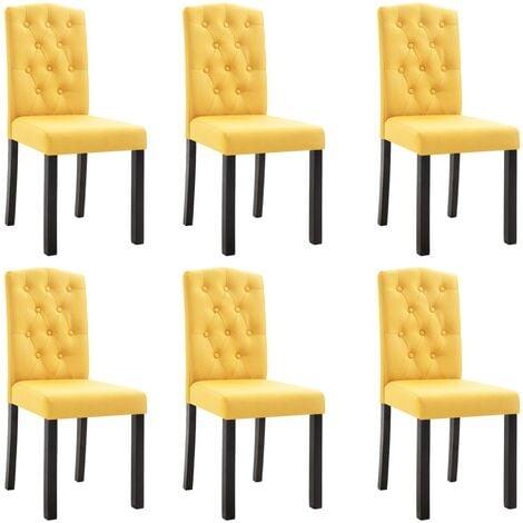 Sillas de comedor 6 unidades de tela amarilla