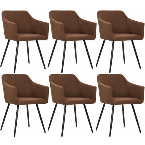 Sillas de comedor 6 unidades de tela marrón