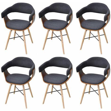 Sillas de comedor 6 unidades madera curvada y tela gris oscuro