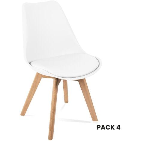 """main image of """"Sillas de comedor blancas, diseño nordico, sillas tulip para salon, oficina, sala de estar, despacho o terraza, respaldo ergonomico, asiento acolchado y patas de madera, estilo escandinavo, blanco"""""""