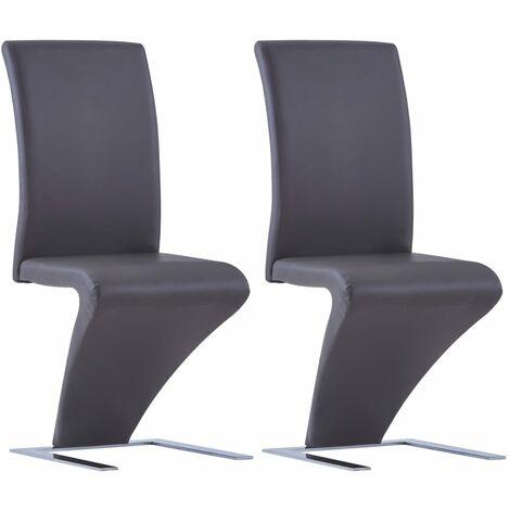 Sillas de comedor forma de zigzag 2 uds cuero sintético gris