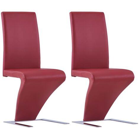 Sillas de comedor forma de zigzag 2 uds cuero sintético rojo