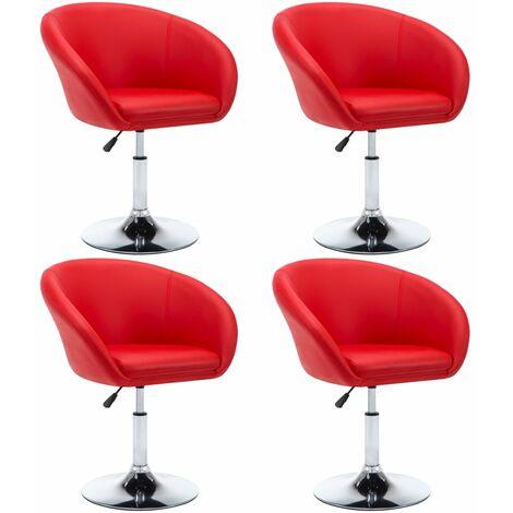 Sillas de comedor giratorias 4 unidades cuero sintético rojo