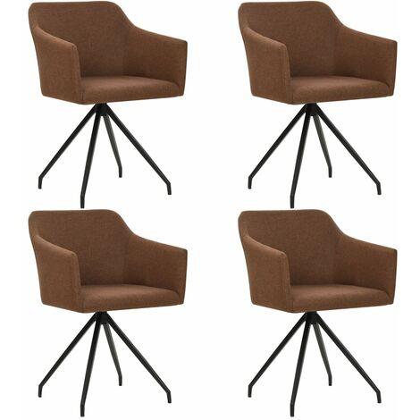 Sillas de comedor giratorias 4 unidades de tela marrón