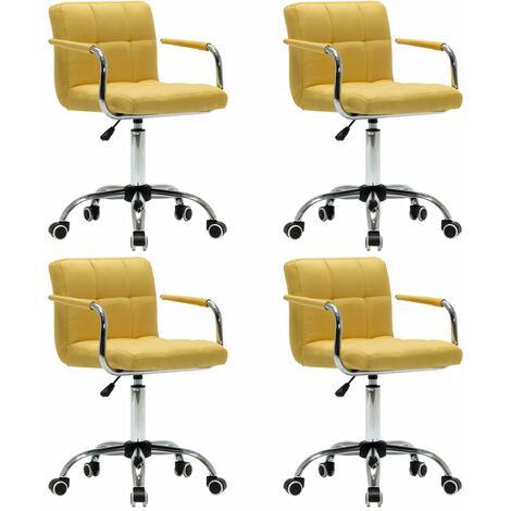 Sillas de comedor giratorias 4 unidades tela amarilla