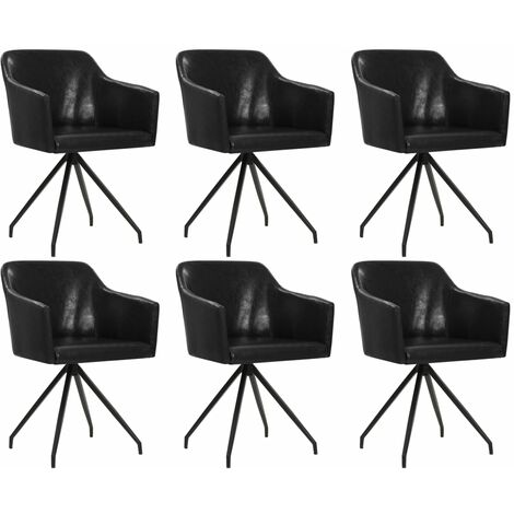 Sillas de comedor giratorias 6 unidades cuero sintético negro