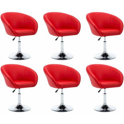 Sillas de comedor giratorias 6 unidades cuero sintético rojo