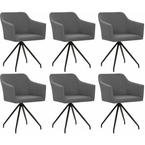 Sillas de comedor giratorias 6 unidades de tela gris clara