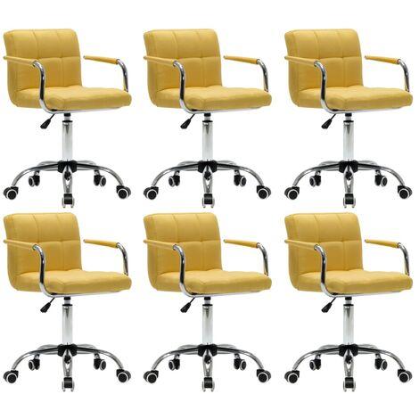 Sillas de comedor giratorias 6 unidades tela amarilla