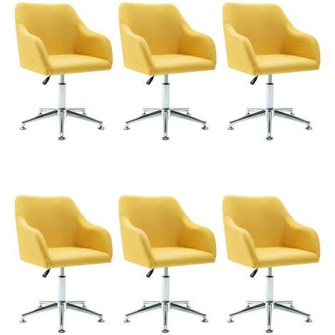 Sillas de comedor giratorias 6 unidades tela amarillo