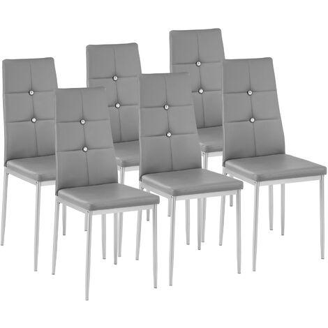 Sillas de comedor Julien 6 unidades - sillas para salón de diseño, sillas de comedor elegantes con respaldo acolchado, asientos de comedor para casa