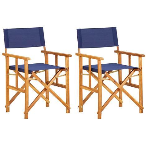 Sillas de director 2 unidades madera maciza de acacia azul