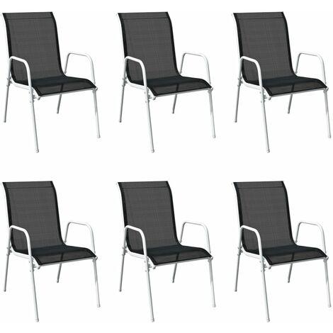 Sillas de jardín apilables 6 unidades acero y textileno negro