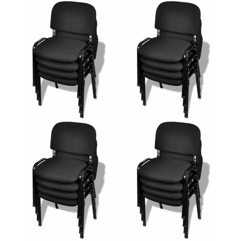 Sillas de oficina apilables 16 piezas tela negra