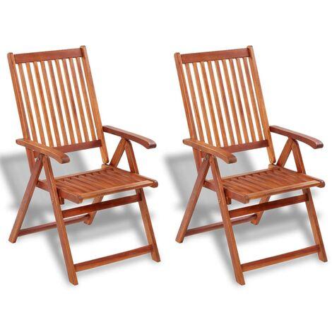 Sillas plegables de jardín 2 uds madera maciza acacia marrón