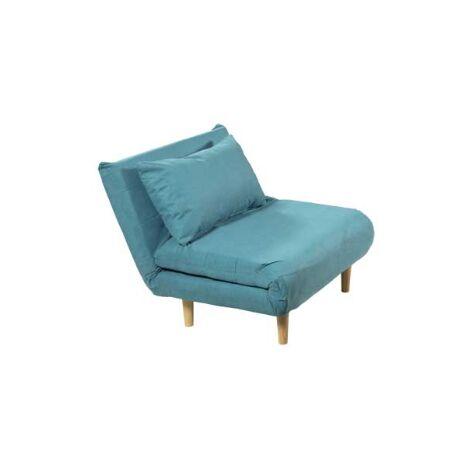 Sillon cama tapizado azul con ribete blanco 88 cm(ancho) 90 cm(altura) 92 cm(fondo).. Color Azul