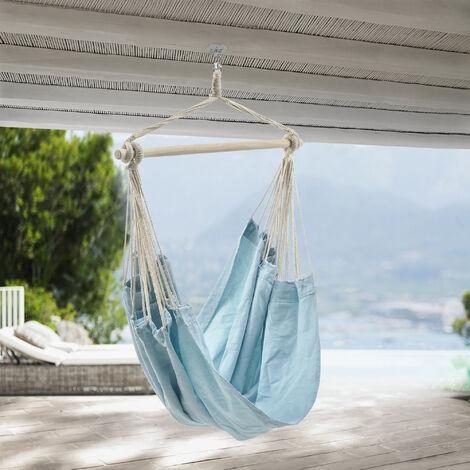 Sillón colgante - 180 x 125 cm - Hamaca - hasta 150 kg - para Uso en Interiores y Exteriores - Se puede girar 360° - Silla colgante - Azul claro - Pastel