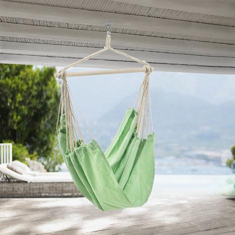 Sillón colgante - 180 x 125 cm - Hamaca - hasta 150 kg - para Uso en Interiores y Exteriores - Se puede girar 360° - Silla colgante - Verde pastel