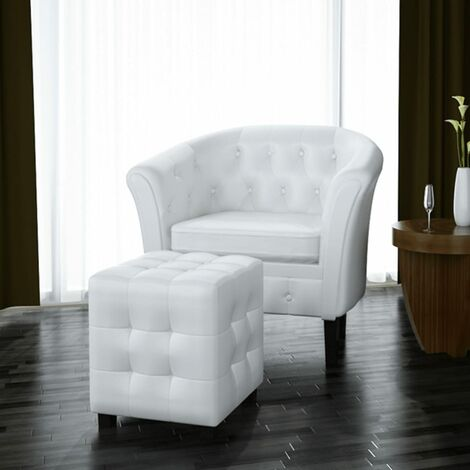 Sillón con diseño de cubo con reposapiés cuero sintético blanco