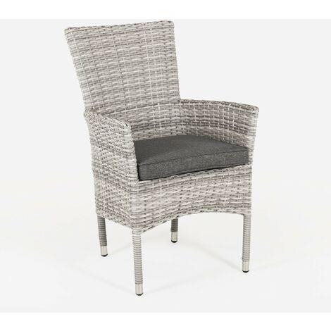 Sillón de exterior apilable | Tamaño: 55x62x92 cm | Aluminio y rattán sintético color gris | Cojín antracita | Portes gratis - Gris-plano